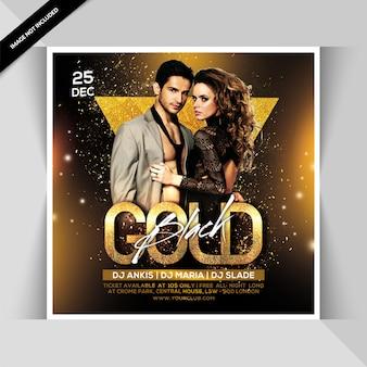 Folheto de festa preto ouro