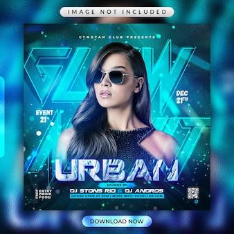 Folheto de festa urbana glow night ou modelo de mídia social