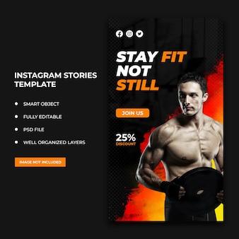 Folheto de fitness com histórias no instagram, postagem em mídia social e banner na web