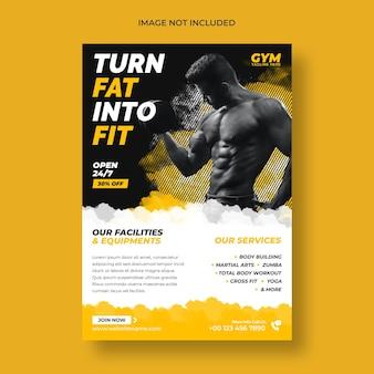 Folheto de fitness e modelo de pôster de ginástica