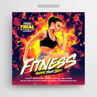 Folheto de ginásio de fitness post de mídia social & web banner