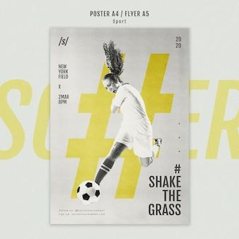 Folheto de jogador de futebol feminino