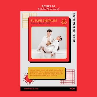 Folheto de lançamento de álbum digital com foto