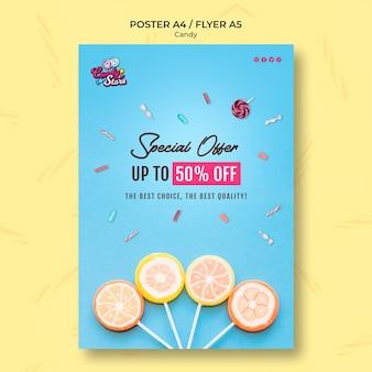 Folheto de loja de doces de oferta especial