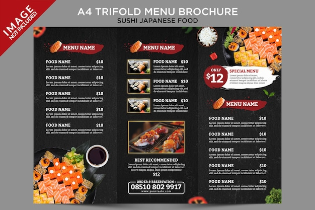 Folheto de menu com três dobras modelo de interior de comida japonesa de sushi