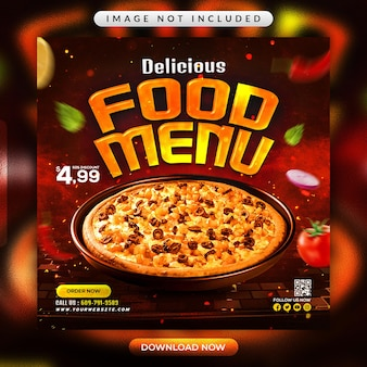 Folheto de menu de comida de restaurante ou modelo de banner de mídia social