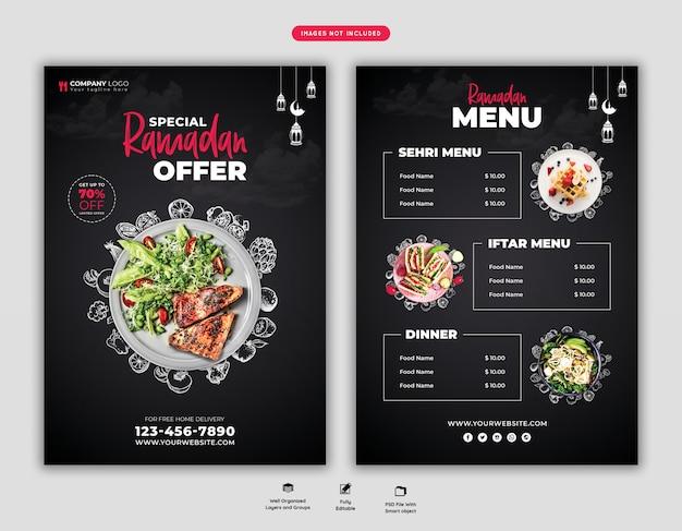 Folheto de menu de comida especial ramadan psd
