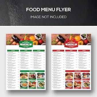 Folheto de menu de comida