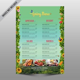 Folheto de menu de primavera