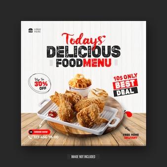 Folheto de mídia social para promoção de menu de comida especial saudável ou modelo de postagem do instagram