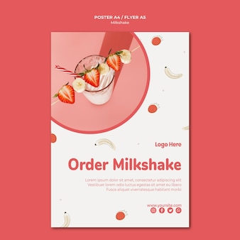 Folheto de milkshake de morango