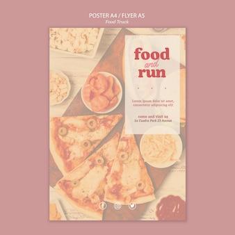 Folheto de modelo de anúncio de caminhão de comida