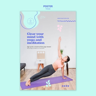 Folheto de modelo de anúncio de ioga
