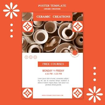Folheto de modelo de criações em cerâmica