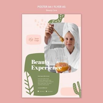 Folheto de modelo de cuidados de beleza