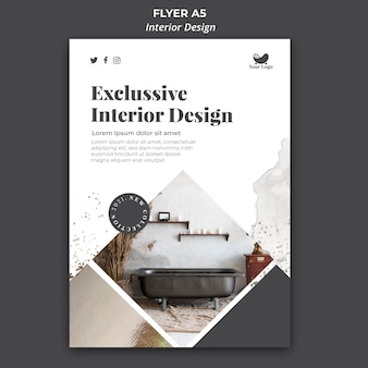 Folheto de modelo de design de interiores