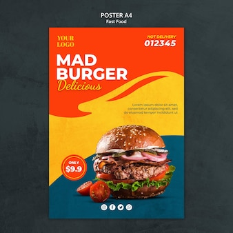 Folheto de modelo de fast food