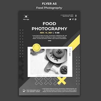 Folheto de modelo de fotografia de comida