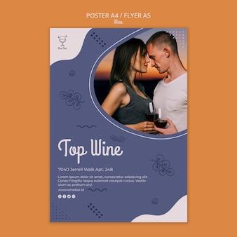 Folheto de modelo de loja de vinhos