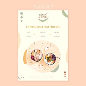 Folheto de modelo de restaurante de ramen
