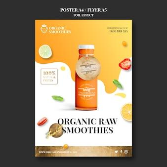 Folheto de modelo de smoothies orgânicos