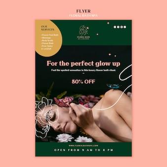 Folheto de modelo de spa floral
