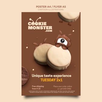 Folheto de monstro de biscoito com ilustrações de desenhos animados