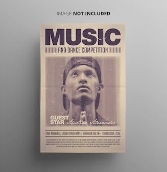Folheto de música estilo retro