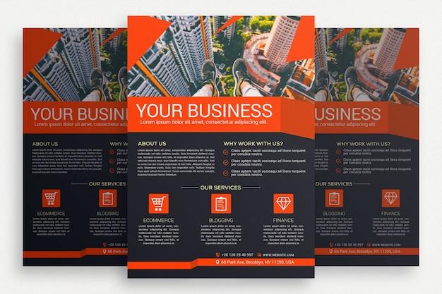 Folheto de negócio preto e laranja