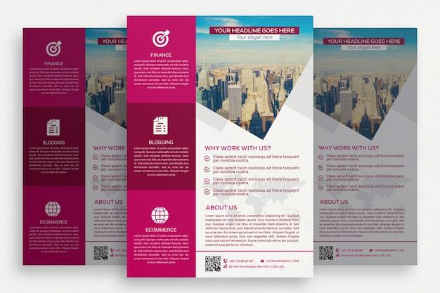 Folheto de negócio rosa e branco