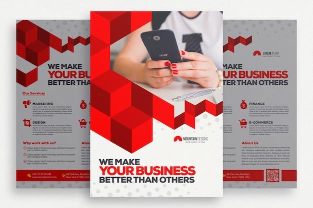 Folheto de negócios geométricos