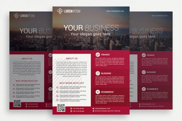 Folheto de negócios rosa