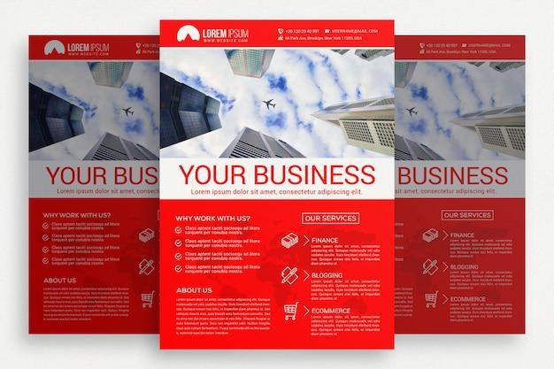 Folheto de negócios vermelho