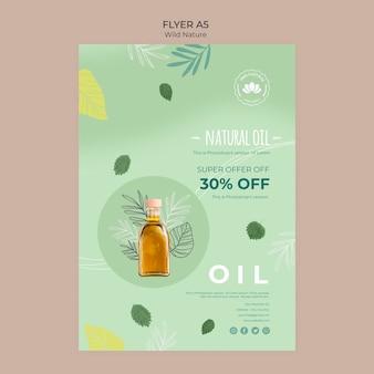 Folheto de oferta especial de óleo natural