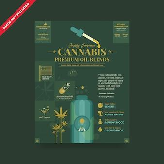 Folheto de óleo de cânhamo cannabis