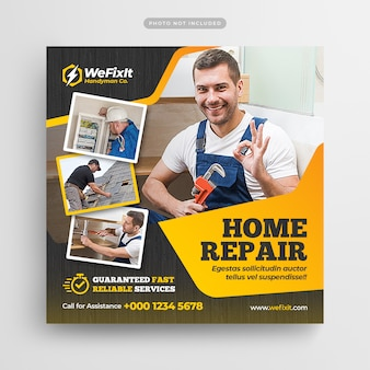 Folheto de reparação residencial faz-tudo post de mídia social & web banner