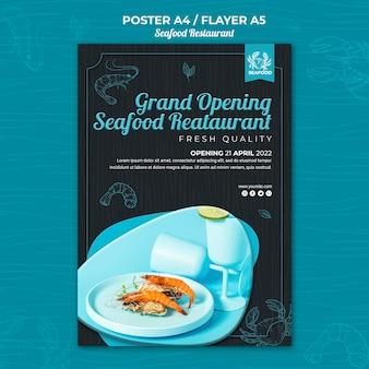 Folheto de restaurante de frutos do mar