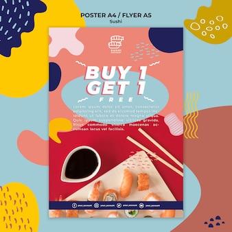 Folheto de restaurante de sushi com oferta