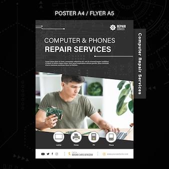 Folheto de serviços de conserto de computadores e telefones