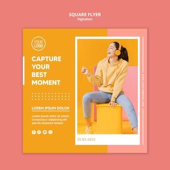 Folheto digital de cores com foto