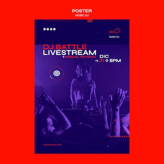 Folheto dj definido modelo de transmissão ao vivo