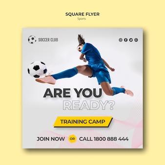 Folheto do campo de treinamento do clube de futebol