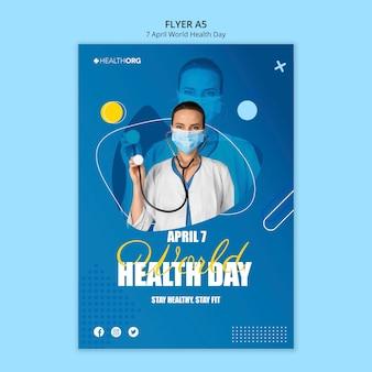 Folheto do dia mundial da saúde com foto