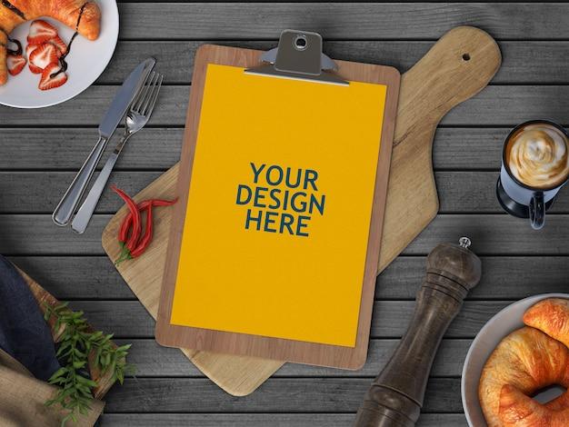 Folheto do menu maquete