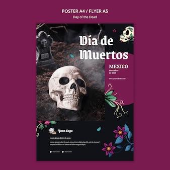 Folheto do modelo do dia dos mortos