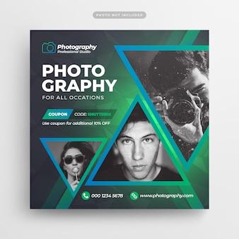 Folheto e banner de mídia social de fotografia