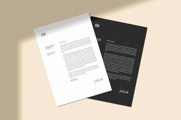 Folheto e maquete de papel timbrado