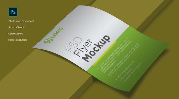 Folheto e pôster que coloca o design do mockup