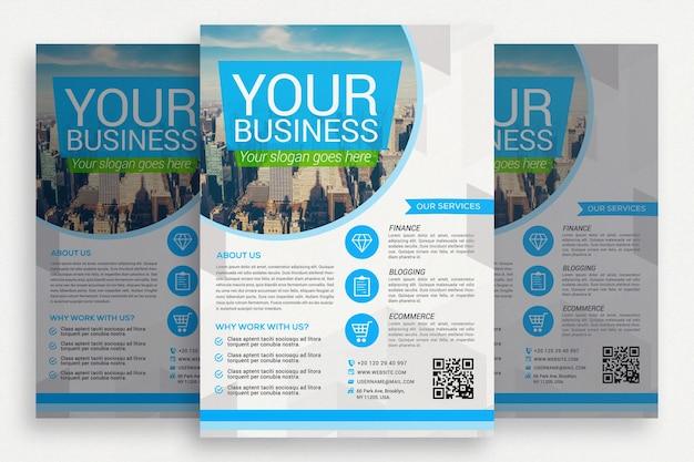 Folheto empresarial azul e branco