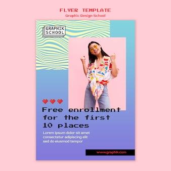 Folheto escolar de design gráfico com foto